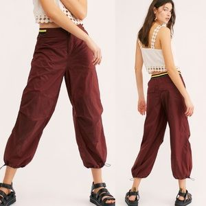 Free People Red Ripple Sport Pants XS parachute